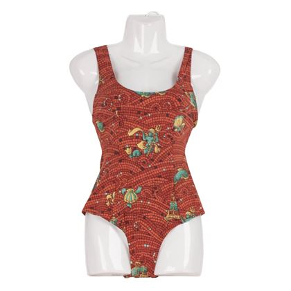hermes-vintage-brown-mosaic-print-one-piece-swimsuit-size-38