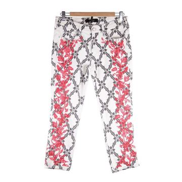 Isabel Marant White Floral Embroidery Cropped Jeans