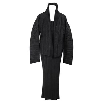 Issey Miyake Black Pleated Dress Suit