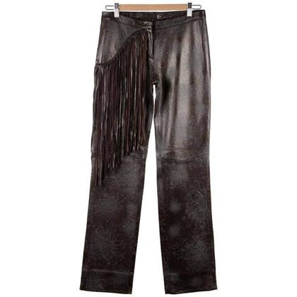 Just Cavalli Embossed Leather Pants Trousers W/ Fringes Size 40
