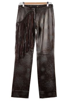 Just Cavalli Brown Fringe Embossed Leather Trousers
