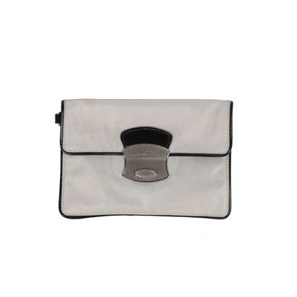 prada-gray-canvas-black-patent-leather-wristlet-wrist-bag-pouch
