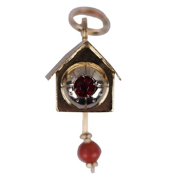 Vintage 18K Yellow Gold Cuckoo Clock Pendant Charm