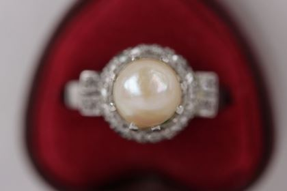 Vintage Platinum Natural Pearl & Small Diamonds Ring