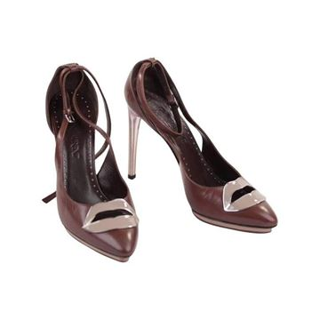Yves Saint Laurent 2003 Brown Lip Detail Heels