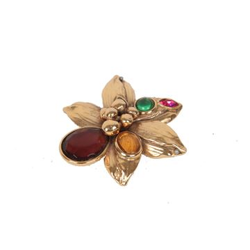 Yves Saint Laurent Rive Gauche Gold Metal Flower Brooch