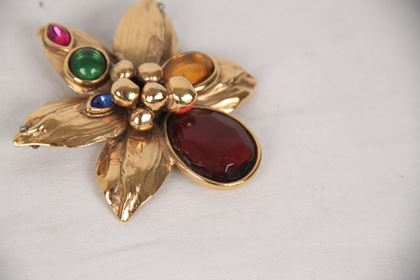 Yves Saint Laurent Gold Metal Flower Brooch W/ Glass Stones