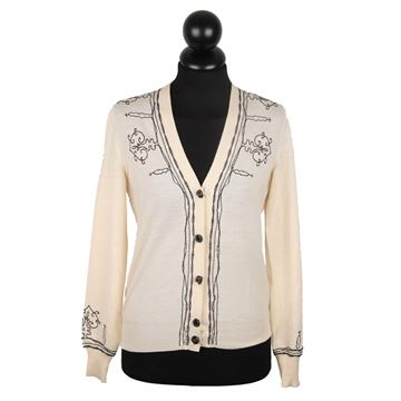 Yves Saint Laurent Ivory Wool Embroidered Cardigan