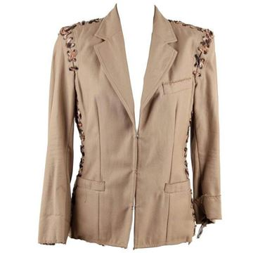 Yves Saint Laurent Rive Gauche Beige Animal Print Lace Up Blazer