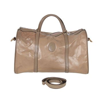 Yves Saint Laurent Tan Vinyl Canvas Weekend Bag