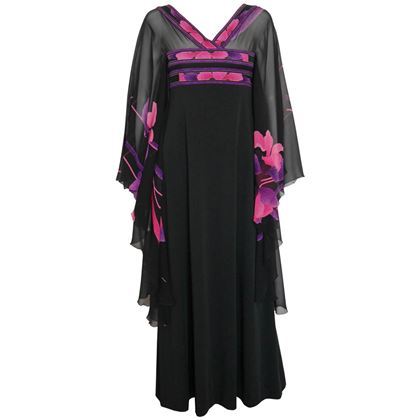 Leonard 1970s Black Silk Caftan Evening Dress