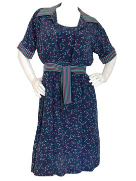 Louis Feraud 1960s Blue Silk Dress & Blouse Set