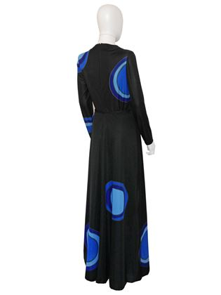 Louis Feraud 1970s Graphic Printed Black Maxi Dress