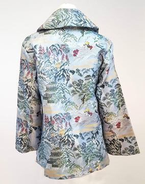 Vintage 1950s Blue Chinese Brocade Trapeze Coat