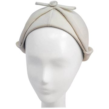 I Magnin 1950s Button and Bow Ivory Cap Hat