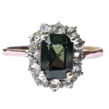 1940s 18ct Gold Tourmaline & Faux Diamond Vintage Ring