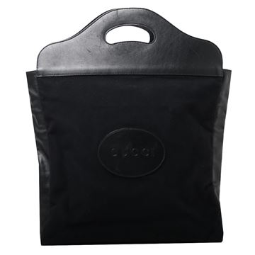 Gucci Black Logo Embossed Top Handle Tote Bag