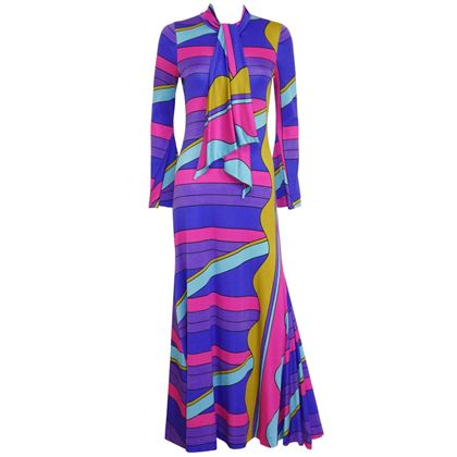 Louis Feraud 1960s Printed Purple Maxi Dress