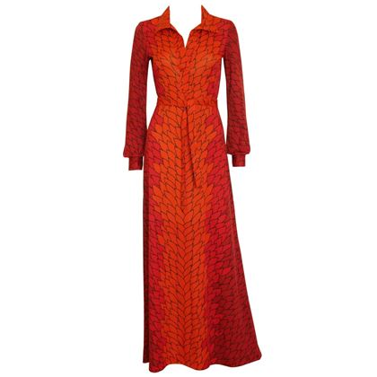 Roberta di Camerino 1970s Red Trompe l'Oeil Maxi Dress