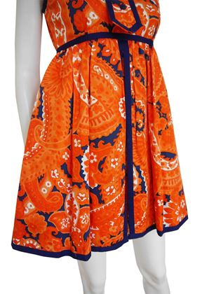 Geoffrey Beene 1960s Orange Babydoll Mini Dress