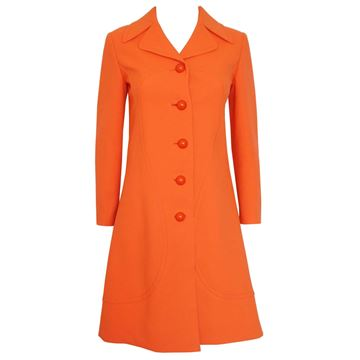 Pierre Cardin 1960s Orange Mod Spring Coat
