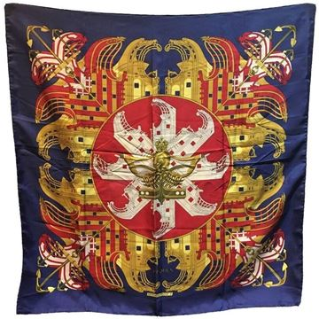 Hermes circa 1970s Proues Navy Blue Silk Scarf