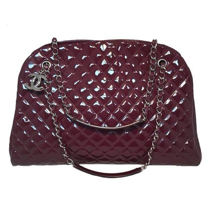 Chanel Quilted Patent Leather Maroon Shoulder Bag Tote