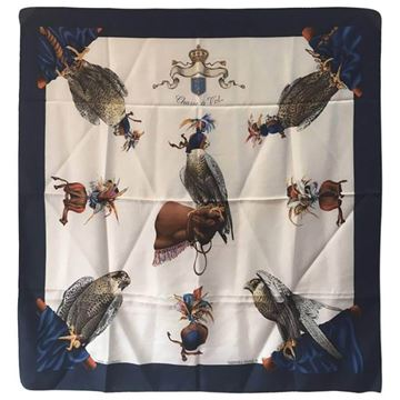 Hermes Circa 1960s Chasse a Vol Blue and White Vintage Silk Scarf