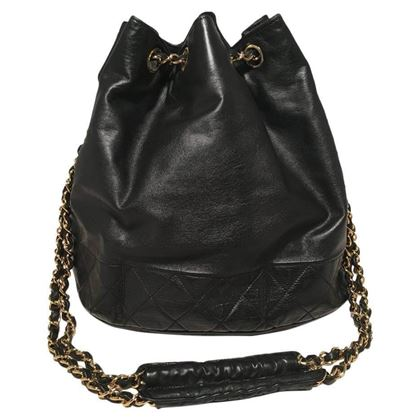 Chanel Vintage Black Leather Drawstring Bucket Shoulder Bag