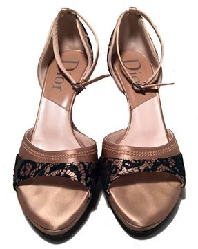Christian Dior Blush Satin and Black Lace High Heel Sandals