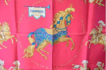 Hermes Circa 1980s Carrousel Vibrant Red Vintage Silk Scarf