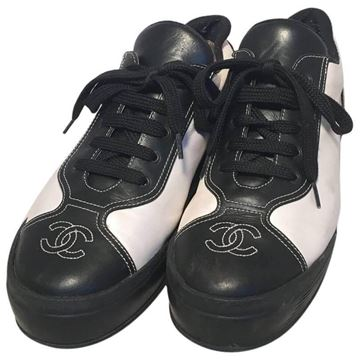 Chanel 1990s Black and White Leather Vintage Trainers