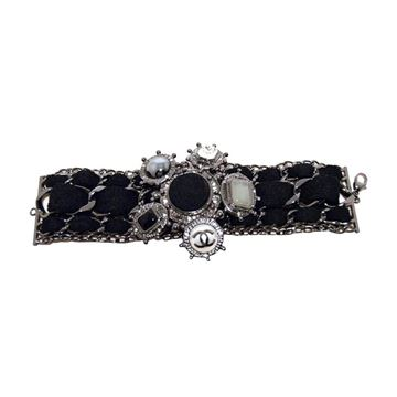 Rare limited Edition Chanel Black Wool and Gunmetal Charms Bracelet