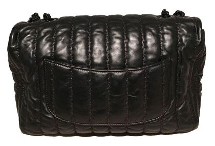 Chanel Black Shimmery Leather Striped Quilted Jumbo Classic Flap