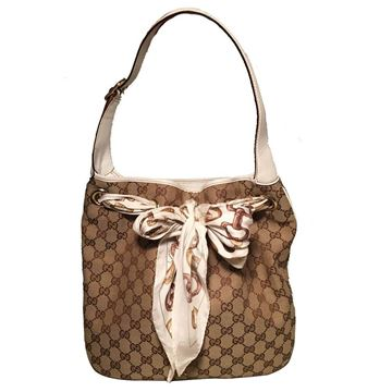 Gucci Monogram Canvas and Silk Scarf Beige Shoulder Bag