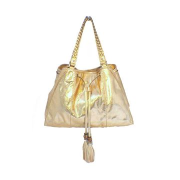 Gucci Metallic Gold Snakeskin Tote Bag