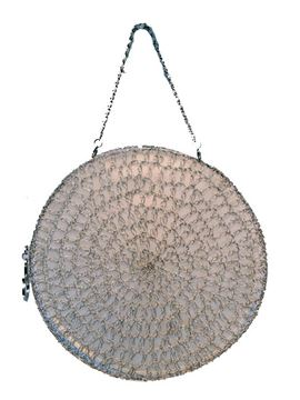 Salvatore Ferragamo Round Silver Wire Woven Evening Bag