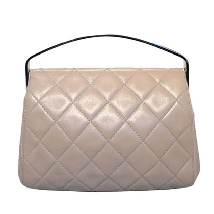 Chanel Beige Quilted Leather Silver Handle Handbag