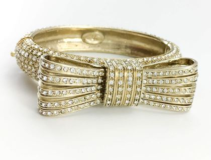 Valentino 1980s Gilt Diamante Gold Tone Bow Bracelet