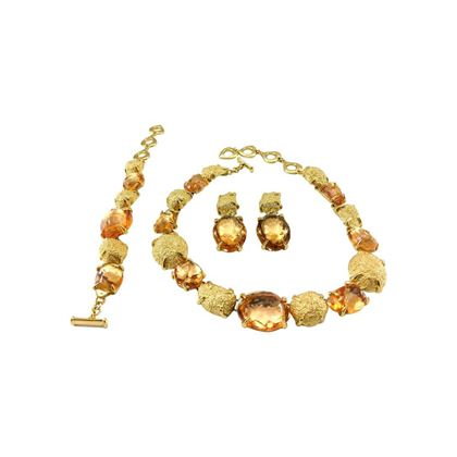 Yves Saint Laurent by Goossens 1980s Faux-Topaz and Gold-Plated Nugget Jewellery Set