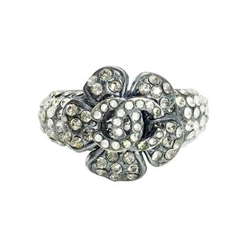 2005 Chanel Rhinestone Flower and Logo Ring