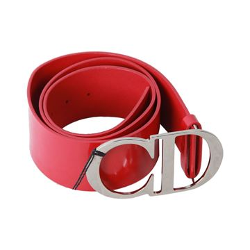 Christian Dior Red Leather Wide Belt