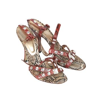 Dolce & Gabbana Brown Snakeskin Heeled Jeweled Sandals