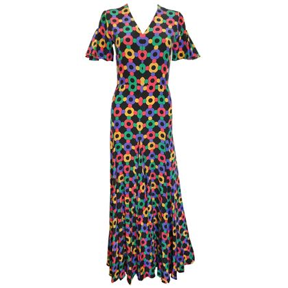 Heinz Riva 1970s Geometric Floral Print Black Maxi Dress