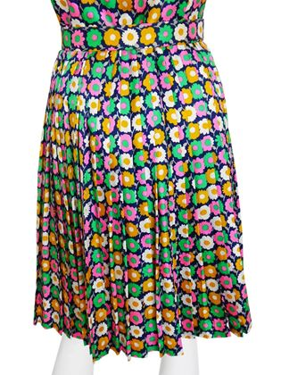 Nina Ricce 1970s Haute Floral Multi Coloured Midi Dress