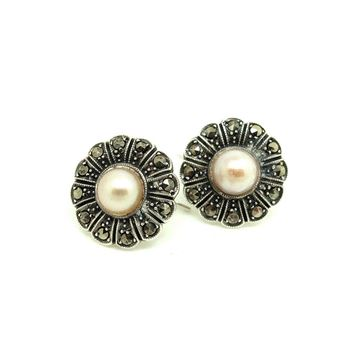 art-deco-1930s-cultured-pearl-marcasite-silver-flower-wedding-earrings