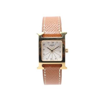Hermes 1990s Tan Square H Face Watch