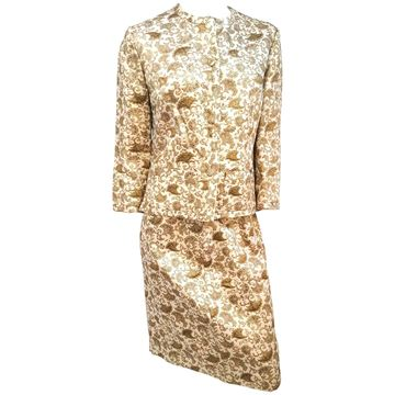 Vintage 1960s Gold Lame Brocade Skirt Suit