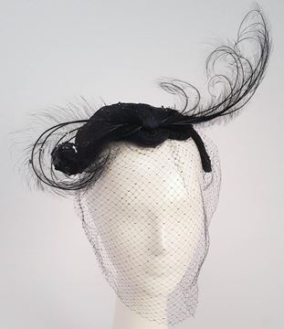Vintage 1950s Bead and Feather Black Cocktail Hat