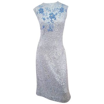 Vintage 1960s Sequinned and Beaded Pale Blue Knitted Dress